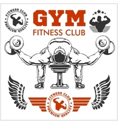 Bodybuilder and Bodybuilding Fitness logos emblems vector image vector image