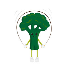 broccoli character jumping rope exercise vector image vector image