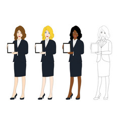 business woman presentation tablet vector image vector image
