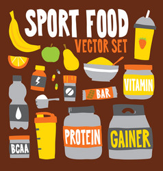 cartoon style sport food nutrition objects vector image vector image