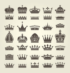 crown icons set - monarchy authority and royal vector image vector image