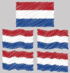 Flat and waving hand draw sketch flag netherlands vector