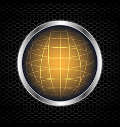 Globe with abstract metal texture vector