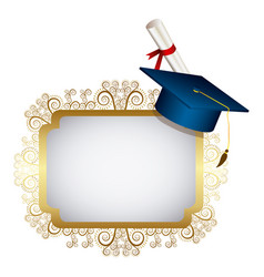 Gold metal emblem with graduation hat and diploma vector