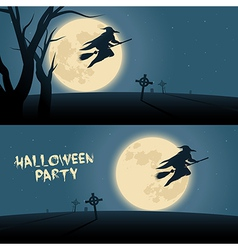 Halloween background with witch flying on a broom vector image
