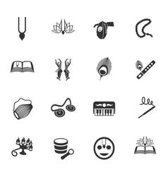 hare krishna icon set vector image