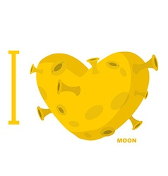 I love moon Heart symbol from yellow planet with vector image vector image