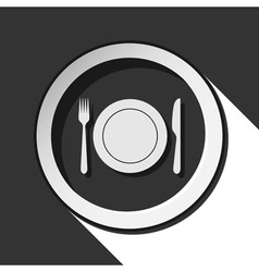 Icon - cutlery with plate and shadow vector