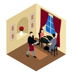 Love Couple In Restaurant Isometric Composition vector image