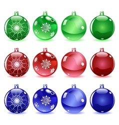 Multicolored Christmas balls Set 1 of 4 vector image