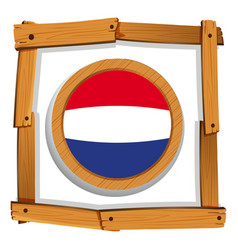 Netherlands flag in wooden frame vector