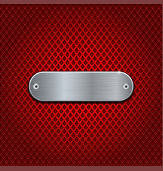 Red diamond perforated background with metal vector