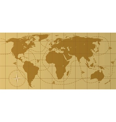 retro world map vector image vector image