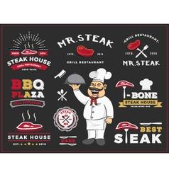 Set of steak and grill restaurant logo label desig vector