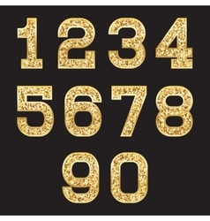 set of stylized gold texture numbers with metallic vector image vector image