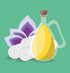 Spa product with towels and flower vector