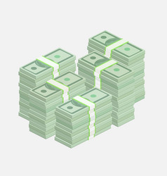 Stacks of one hundred dollar bills vector