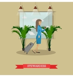 Stewardess with baggage in vector