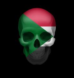 Sudanese flag skull vector