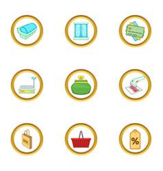 Supermarket interior icons set cartoon style vector