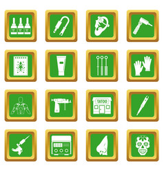 Tattoo parlor icons set green vector