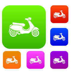 Vespa scooter set collection vector