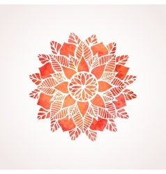 Watercolor red flower mandala vector