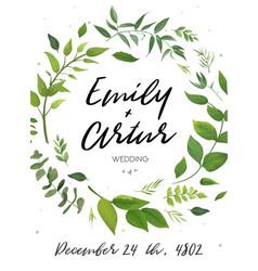 Wedding invitation green floral invite card design vector
