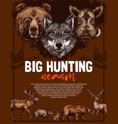 Wild animal and bird poster of open hunting season vector
