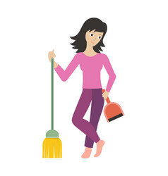 worker of cleaning company with dustpan and broom vector image vector image