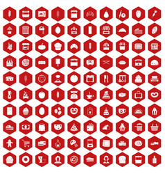 100 bakery icons hexagon red vector