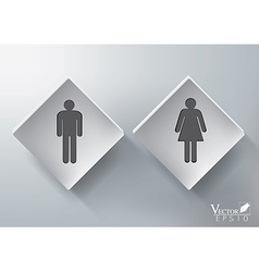 3d restroom sign design vector