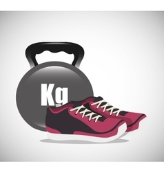 Cartoon dumbbell sneakers fitness elements design vector