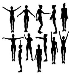 silhouette of girl in sport dress vector image