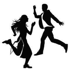 Silhouette of the girl and the guy jumped vector