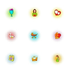 Mothers day holiday icons set pop-art style vector