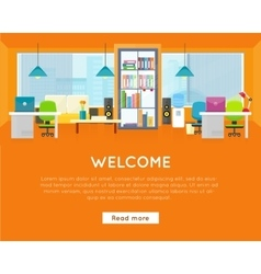 Welcome office banner modern office interior vector
