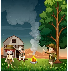 Kids near the campfire vector image