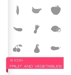 Fruit and vegetables icons set vector