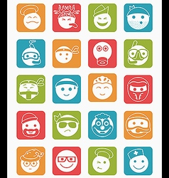 20 smiles icons set profession color square vector