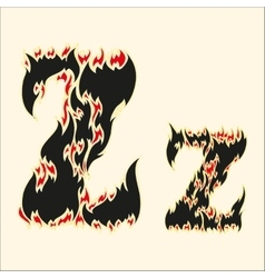 Fiery font letter z on white vector