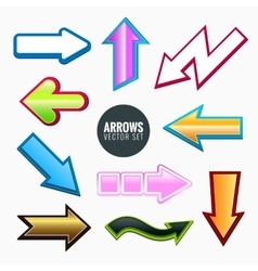 Arrows set colorful different styles vector