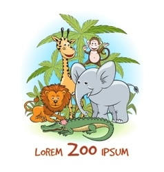 Zoo cartoon animals logo vector