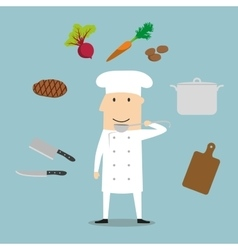 Chef profession utensil and vegetables vector