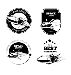 Vintage astronaut labels badges emblems vector