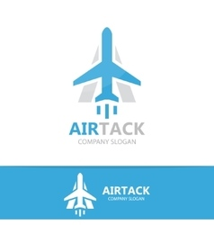 airplane and a letter logo design vector image