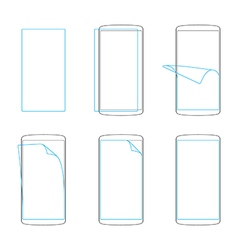 Apply screen protector smartphones and tables vector