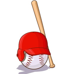 Baseballs ball with helmet and bat vector