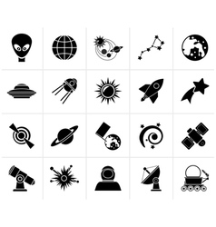 Black astronomy and space icons vector