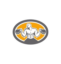 Bodybuilder lifting kettlebell front oval retro vector